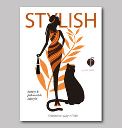 Abstract woman with bag and big cat panter in vector