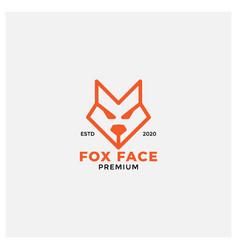 Angry fox face head logo design line style vector
