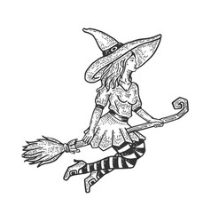 beauty witch flying on broomstick sketch vector image