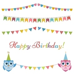 Birthday garlands flags and two owls vector