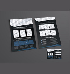 black flyer template with abstract geometric vector image