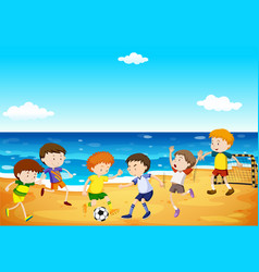 Boys playing soccer on the beach vector