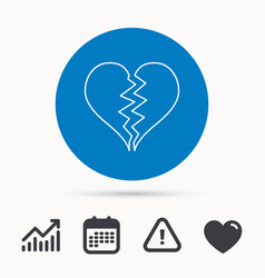 broken heart icon divorce sign vector image