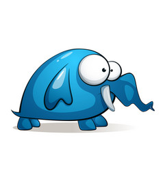 Cartoon charater cute funny elephant vector