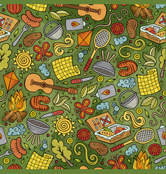 Cartoon cute hand drawn picnic seamless pattern vector