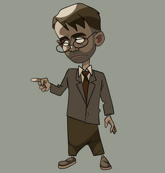 Cartoon strict man in a suit with a tie and vector