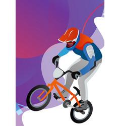 Cartoon stylish man riding on cool bmx bike vector