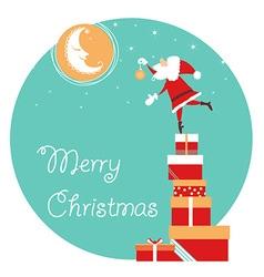 christmas card with Santa and moon holiday card vector image