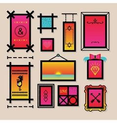 Colorful decoration symbols and frames icons set vector image