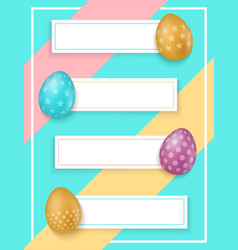 colorful easter eggs with banners easter sale vector image