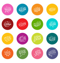 comic colored sound icons many colors set vector image