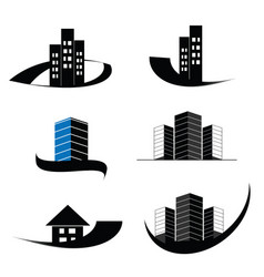construction real estate and building logo set vector image vector image