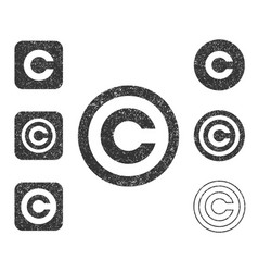 copyright icon shape sign set grunge vector image