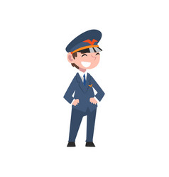 Cute boy dressed as pilot kids future profession vector