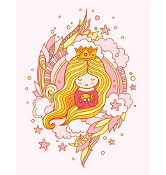 Cute little princess mermaid with fish and crown vector