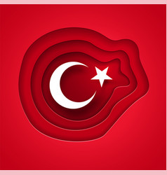 Cutting paper style turkish flag vector