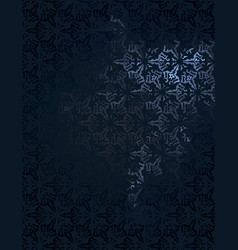 dark background with white floral ornament vector image