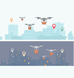 delivery drone banner set - futuristic drones vector image