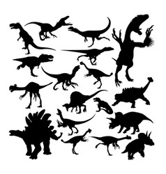 Dinosaur reptile animal silhouettes vector