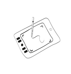 Drawing tablet hand drawn outline doodle style vector
