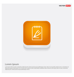 Edit pencil icon orange abstract web button vector