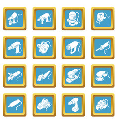 Electric tools icons set sapphirine square vector
