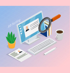 Employment recruitment isometric background vector