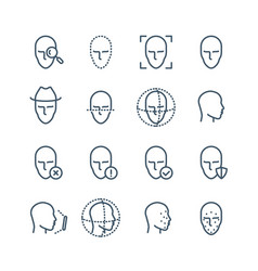 face recognition line icons faces biometrics vector image
