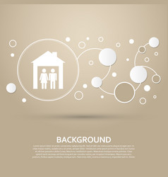 family icon on a brown background with elegant vector image