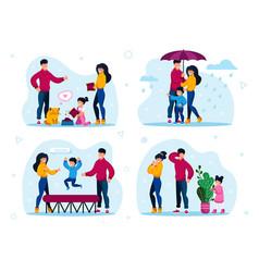 Family outdoor activities home hob set vector