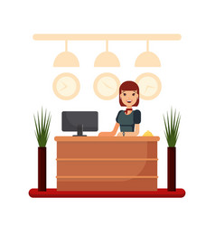 flat hotel reception desk with young woman vector image