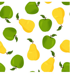 Fresh yellow pear and green apple seamless vector