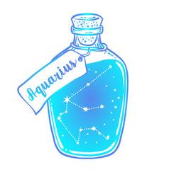 Glass bottle with zodiac aquarius constellation vector