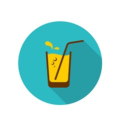 Glass of orange juice with straw bubbles and water vector