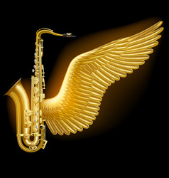 Gold saxophone with wing vector