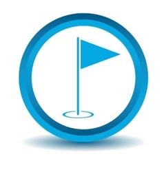 Golf flagstick icon blue 3D vector image