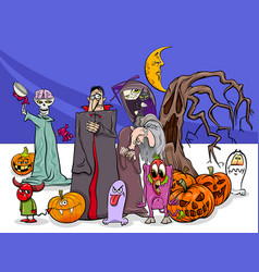 Halloween holiday cartoon funny characters group vector