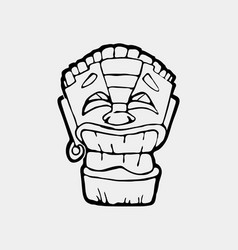 Hand drawn totem face symbol vector