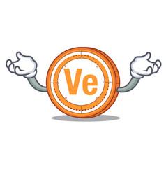 Hand up veritaseum coin character cartoon vector