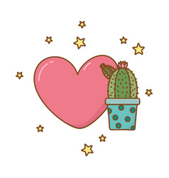 Heart and cactus vector