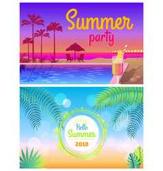 Hello summer party 2018 posters summertime at pool vector