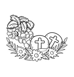 Holy host communion with grapes vector
