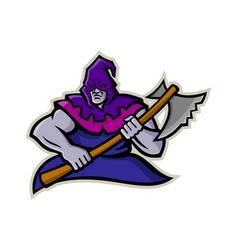 Hooded medieval executioner mascot vector