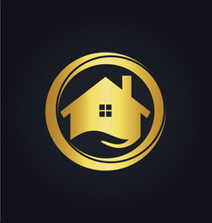House icon business gold logo vector