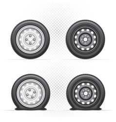 inflated and deflated wheel vector image