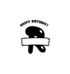 initial birthday r letter happy birthday monogram vector image