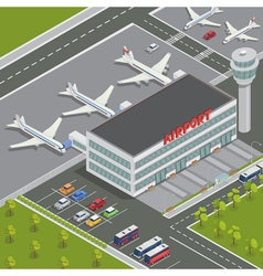 Isometric Airport Building with Airplanes vector image