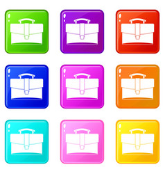 Leather briefcase icons 9 set vector