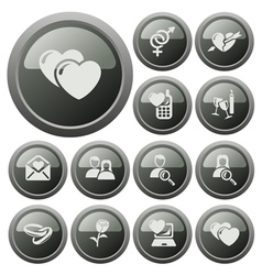 Love and dating buttons vector image
