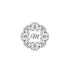 m letter logo monogram design elements line art vector image